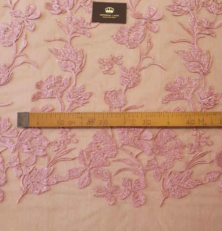 Raspberry pink floral pattern embroidery sequins on soft tulle fabric. Photo 10