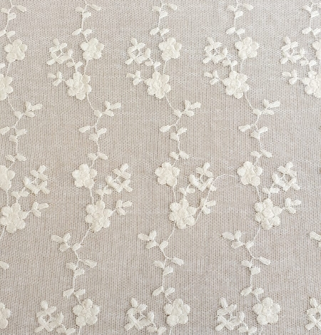 Ecru embroidery lace fabric. Photo 6
