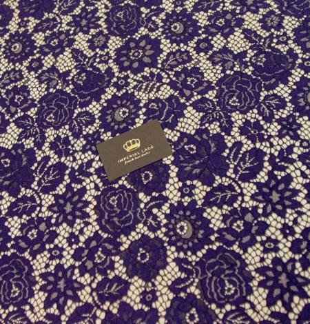 Dark purple floral guipure lace fabric . Photo 7