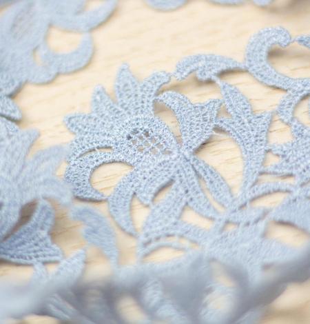 Light blue light macrame floral pattern lace trimming. Photo 3