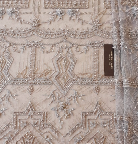 Beigish gray geometric with hanging details beaded lace fabrics. Photo 7
