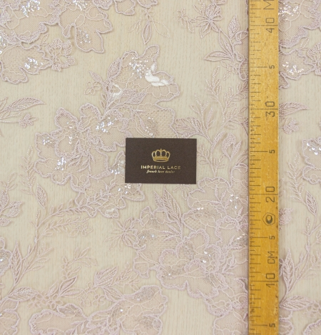 Old rose floral pattern embroidery with sequin on tulle fabric. Photo 10