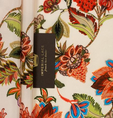 Multicolor floral printed silk crepe fabric. Photo 2