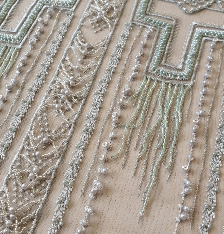 Light green geometric beaded with hanging details lace fabric. Photo 7