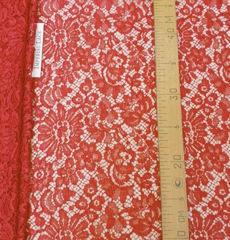 Red viscose chantilly lace fabric. Photo 7