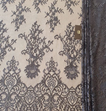 Greyish brown floral pattern chantilly lace fabric. Photo 7