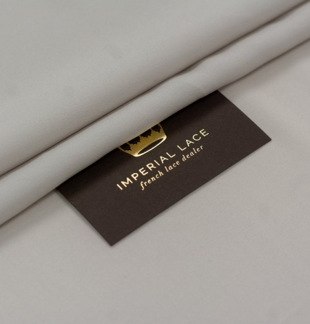 Light grey Mulberry silk with elastane crepe fabric. Photo 1