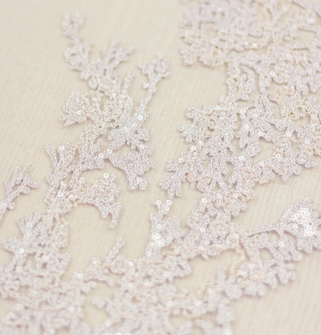 Nude organic pattern embroidery with sequins on tulle fabric. Photo 4
