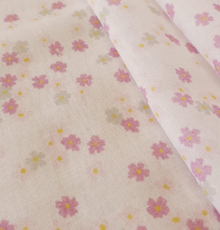Light pink floral pattern thin batiste fabric. Photo 6