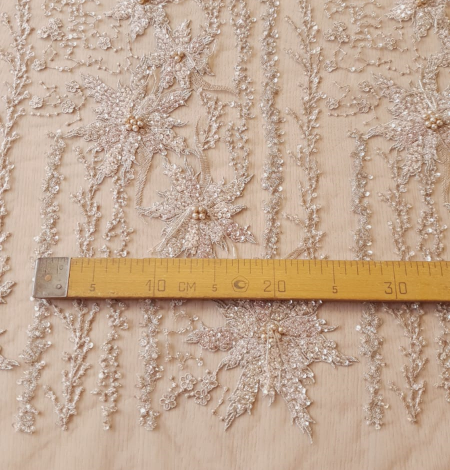 Multicolor beaded lace fabric. Photo 9