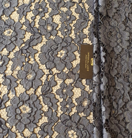 Grey floral pattern cord thread guipure lace fabric. Photo 8