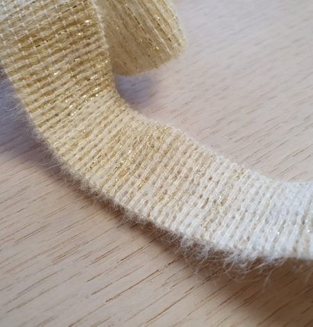 Ivory with gold thread rubber ribbon. Photo 5