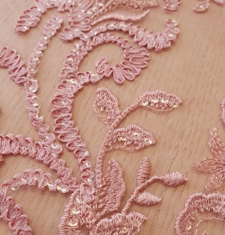 Raspberry pink floral pattern embroidery with sequins on soft tulle fabric. Photo 3