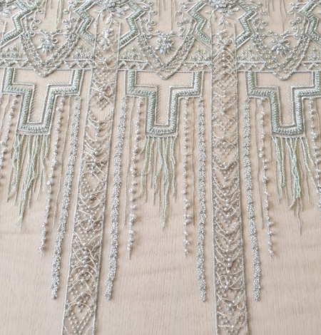 Light green geometric beaded with hanging details lace fabric. Photo 9