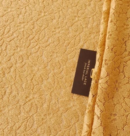 Mustard yellow 100% wool guipure lace fabric. Photo 1