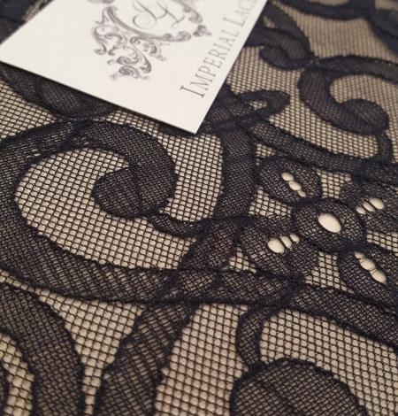 Black geometric lace fabric. Photo 3