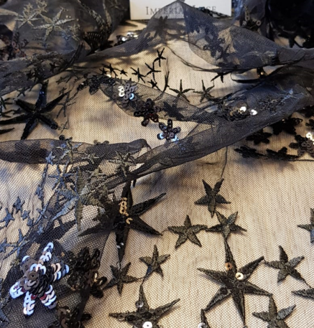 Black embroidery tulle fabric. Photo 3