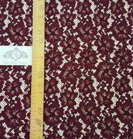 Wine red floral alencon lace fabric . Photo 4