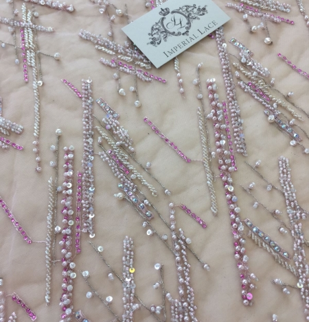 Pink beaded lace fabric. Photo 7
