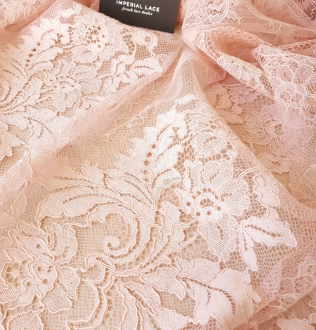 Pink guipure with chantilly lace fabric. Photo 6