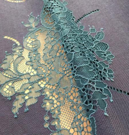 Dark lilac lace fabric. Photo 6