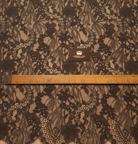 Greyish brown chantilly floral pattern lace fabric. Photo 7