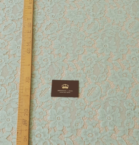 Mint green cotton guipure lace fabric . Photo 6