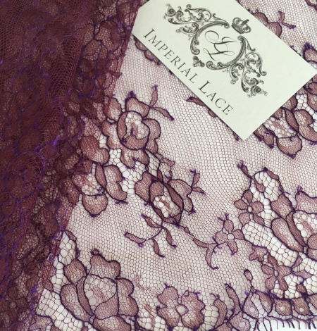 Cordovan with lilac thread lace trim. Photo 1
