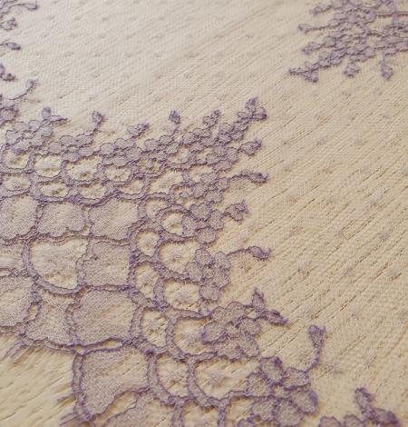 Lilac chantilly cotton lace trimming by Jean Bracq. Photo 3