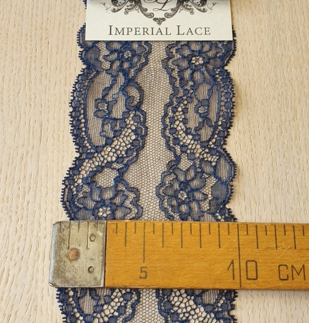 Dark blue elastic chantilly lace trimming. Photo 5