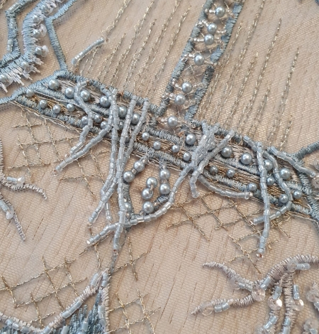 Greyish blue beaded with hanging details embroidery on tulle. Photo 3