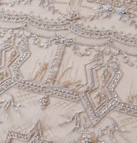 Beigish gray geometric with hanging details beaded lace fabrics. Photo 5
