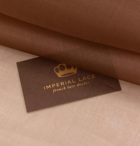 Brown silk organza fabric . Photo 7