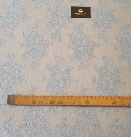 Bluish grey floral pattern chantilly lace fabric. Photo 9
