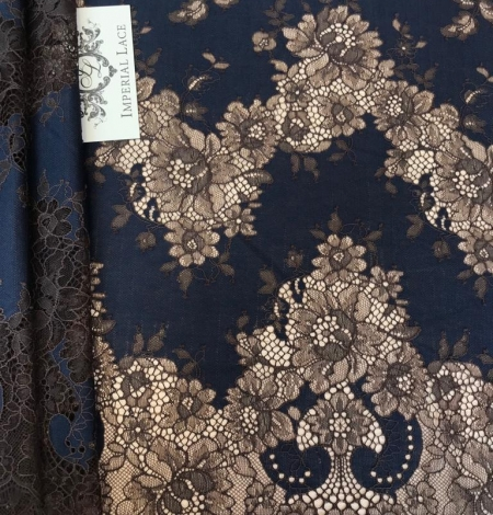 Dark blue with brown flower pattern lace fabric. Photo 1