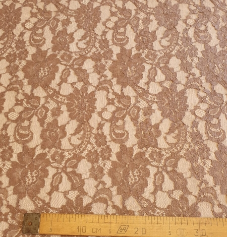 Brown viscose chantilly lace fabric. Photo 8