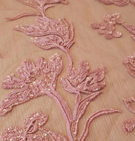 Raspberry pink floral pattern embroidery sequins on soft tulle fabric. Photo 5