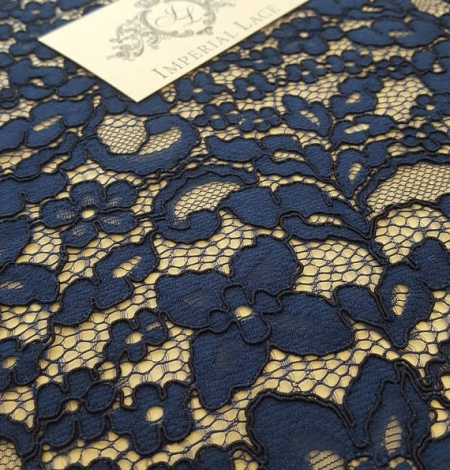 Navy Blue Lace Fabric. Photo 2