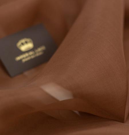 Brown silk organza fabric . Photo 6