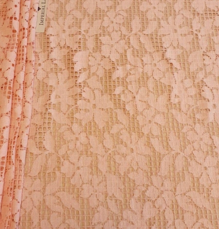 Pink floral and checkered guipure lace fabric. Photo 2