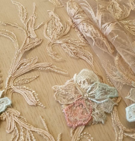 Multicolor floral 3D embroidery on beige tulle fabric. Photo 3