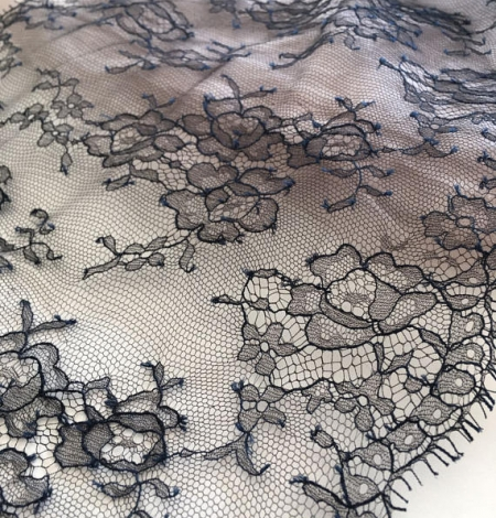 Navy blue chantilly lace trim from France. Photo 1