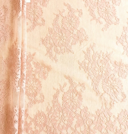 Powder color Chantilly lace fabric . Photo 1