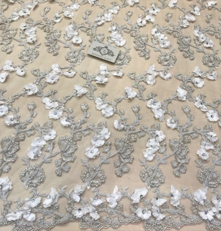 White with silver thread beaded lace fabric. Photo 5