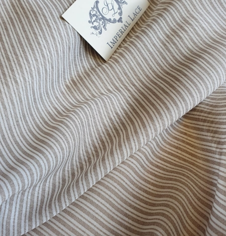 Grey with white stripes viscose fabric. Photo 2