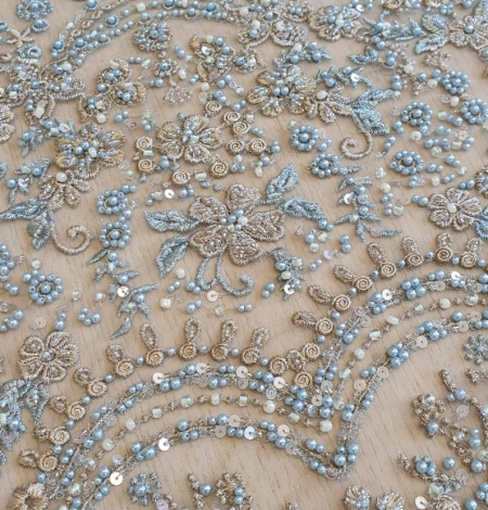 Grey blue beaded lace fabric. Photo 3