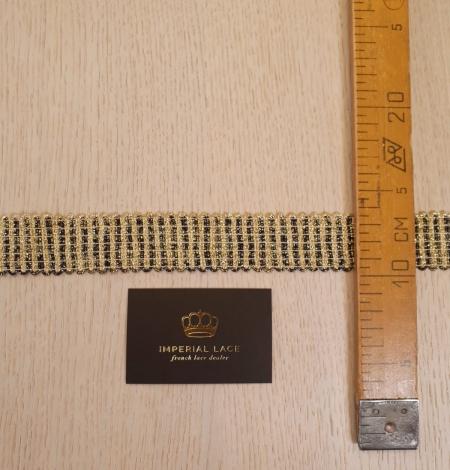 Gold and black elastic ribbon application. Photo 9