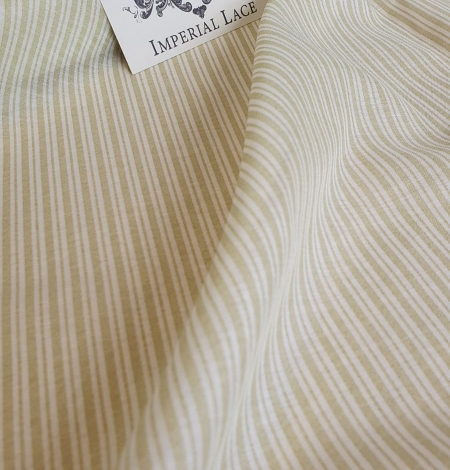 Green stripes with white viscose fabric. Photo 6