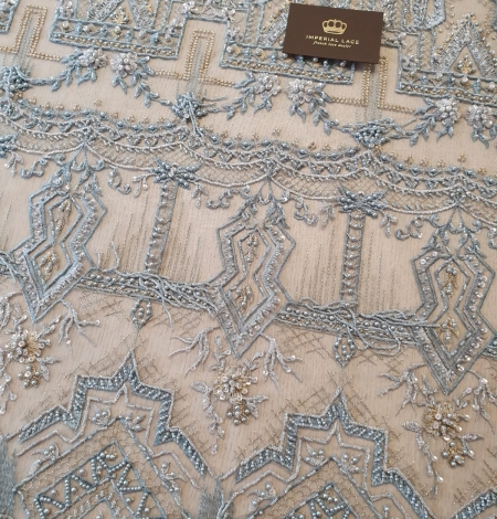 Greyish blue beaded with hanging details embroidery on tulle. Photo 5