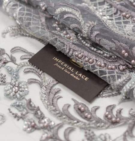 Grey beaded embroidery lace fabric. Photo 2